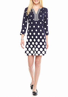 Crown & Ivy™ Three-quarter Sleeve Twin Print Dress