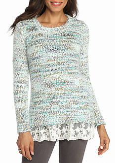 New Directions Popcorn Eyelash Lace Hem Sweater