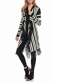 New Directions Vertical Stripe Fringe Cardigan