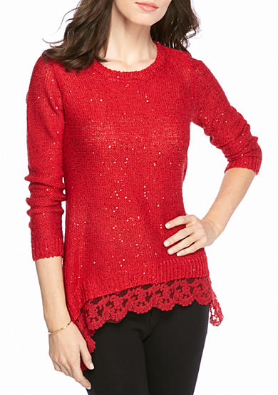 New Directions® Sequin Lace Hem Sweater