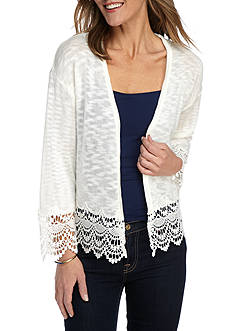 New Directions Lace Trim Hem Cardigan