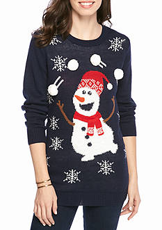 New Directions Juggling Snowman Holiday Tunic Sweater