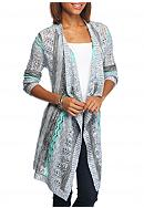New Directions® Stripe Cinched Back Cardigan