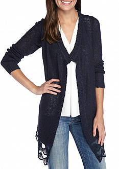 New Directions Lace Hem Cardigan