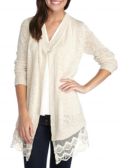 New Directions® Lace Hem Cardigan
