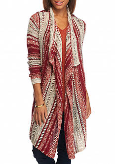 New Directions Multi Stripe Pointelle Cardigan
