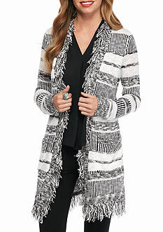 New Directions Textured Stripe Cardigan