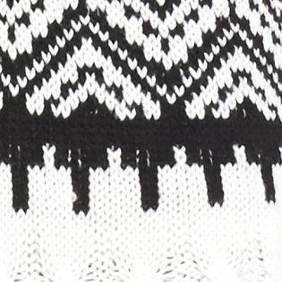 Sweaters for Women: V-neck: Black/ White New Directions Shirttail Fringe Trim Hooded Sweater