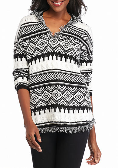 New Directions® Shirttail Fringe Trim Hooded Sweater