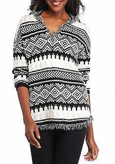 New Directions Shirttail Fringe Trim Hooded Sweater