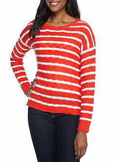 New Directions Stripe Lace Trim Sweater