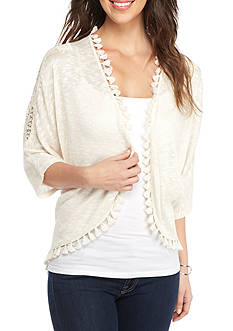 New Directions Lace Shoulder Tassel Trim Cardigan