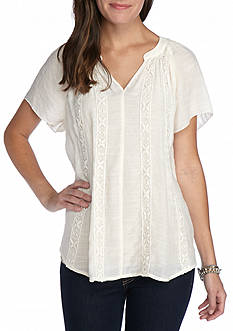New Directions® Flutter Sleeve Lace Shirt