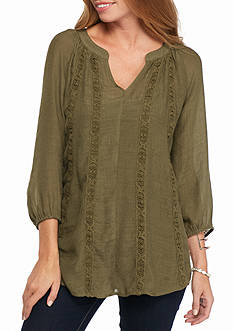 New Directions Solid Lace Trim Blouse