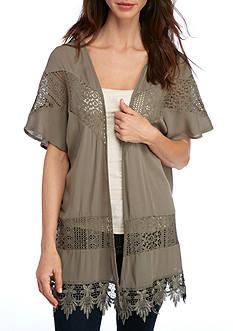 New Directions Gauze Lace Kimono