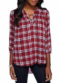 New Directions® Weekend Plaid Lace-Up Peasant Shirt