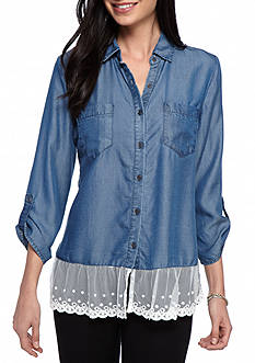 New Directions Weekend Lace Hem Chambray Shirt