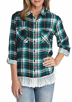 New Directions Weekend Plaid Lace Hem Shirt