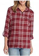 New Directions® Lace Back Plaid Shirt
