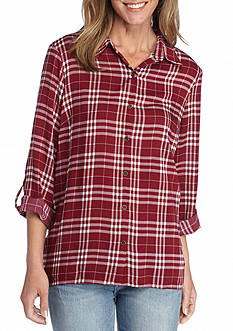 New Directions Lace Back Plaid Shirt