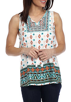 New Directions Sleeveless Embroidered Print Top
