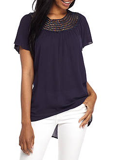 New Directions Three-Quarter Sleeve Crochet Neck Blouse