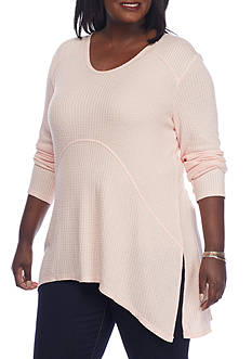New Directions Weekend Plus Size Waffle Knit Top