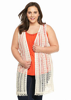 New Directions® Plus Size Crochet Trim Vest