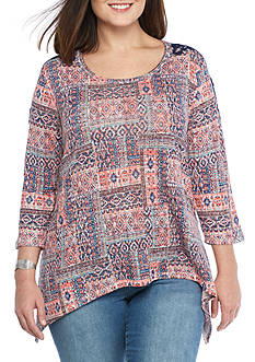 New Directions® Weekend Plus Size Crochet Shoulder Sharkbite Knit Top