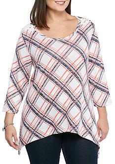 New Directions Weekend Plus Size Crochet Shoulder Sharkbite Knit Top