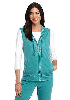 New Directions® Weekend Relaxed Burnwash French Terry Hooded Vest
