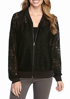 New Directions® Lace Bomber Jacket