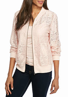 New Directions Lace Bomber Jacket