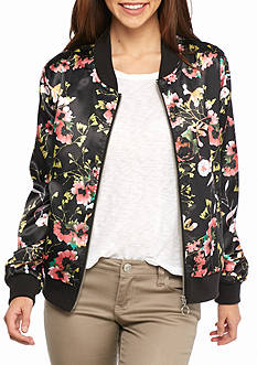 New Directions Floral Print Bomber Jacket