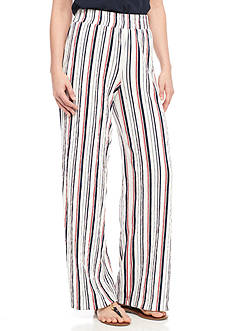 New Directions Crinkle Knit Striped Gauze Pants