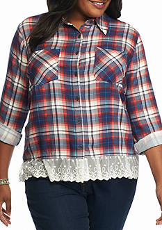New Directions® Plus Size Plaid Lace Hem Top