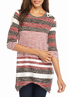 New Directions Weekend Stripe Lace Shoulder Top