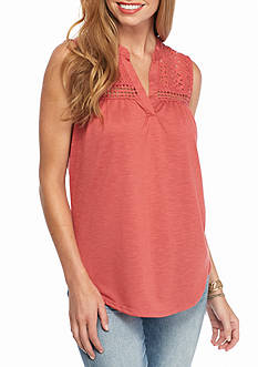 New Directions Lace Yoke Tank