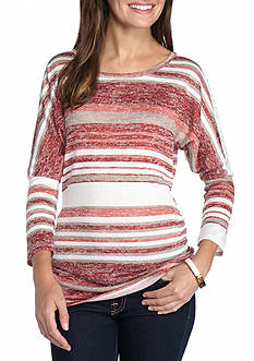 New Directions Weekend Ruched Stripe Lace Back Top