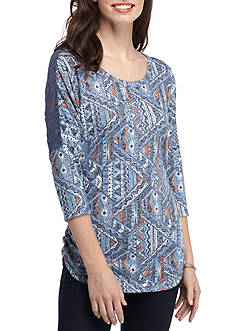 New Directions® Printed Lace Back Ruched Tunic Top