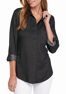 New Directions Knit Jean High Low Button Front Shirt