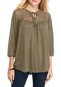 New Directions Weekend Lace Yoke Peasant Top