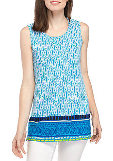 New Directions Weekend Sleeveless Sharkbite Printed Top