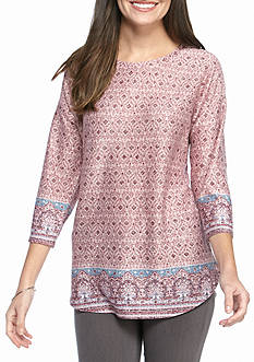 New Directions Border Printed Knit Top