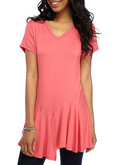 New Directions Solid Asymmetrical Hem Top