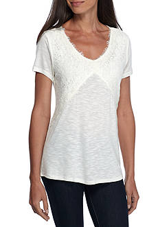 New Directions Weekend Short Sleeve V-Neck Lace Front Knit Top