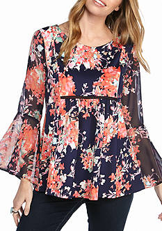 New Directions Floral Ruffle Sleeve Babydoll Blouse