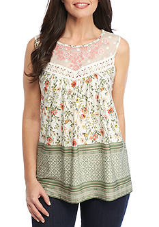 New Directions® Crochet Embroidered Yoke Printed Top