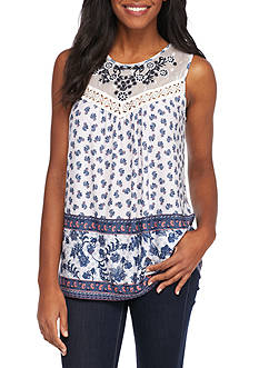 New Directions® Printed Crochet Yoke Top