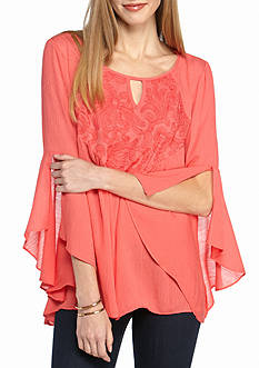 New Directions Crinkle Embroidered Ruffle Sleeve Blouse